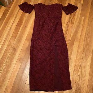 J Crew lace formal maxi dress - burgundy - Sz 6